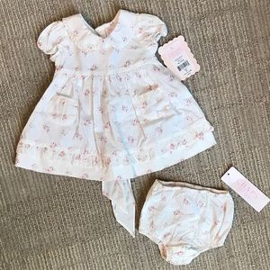 NWT Chaps Girls Floral Print Dress & Bloomers; 3m